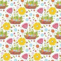Nahtloses Muster des Osterfrühlings mit niedlichen Tieren, Vögeln, Bienen, Schmetterlingen. vektor