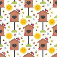 påsk vår sömlösa mönster med söta fågelhus djur, fåglar, bin, fjärilar. vektor