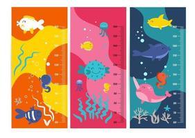 Kinderhöhenkarte. Vektor isolierte Illustration von Cartoon-Tieren. niedliche Skalenmaße für Kinder wachsen. Messgerät für das Wachstum des Babys. Kinderhöhenmesser für Kindergarten.