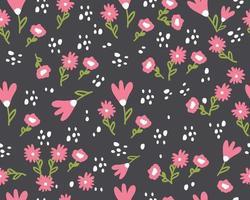 nahtloses Frühlingsmuster mit niedlichen Blumen. handgezeichnetes Sommerflora-Textil vektor