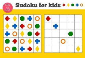 sudoku. barn och vuxen matematisk mosaik. magiska torget. logik pusselspel. vektor
