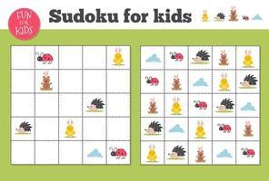 Sudoku. mathematisches Mosaik für Kinder und Erwachsene. magisches Quadrat. Logik-Puzzlespiel. vektor