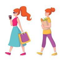 rödhårig dam i solglasögon och med kaffe i handen går för att köpa kläder. shopping flicka. ingefärahårkvinnan bär en papperspåse med livsmedel från livsmedelsbutiken. vektor