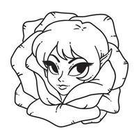 porträtt av söt flicka med älva öron i ros. vektor