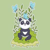 söt liten pandabjörn som sitter på en äng och blå fjärilar flyger runt. vektor