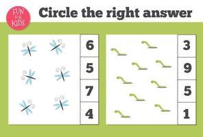 räkningsspel för förskolebarn. hemundervisning. utbilda ett matematiskt spel. vektor