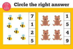 Zählspiel für Kinder im Vorschulalter. Heimunterricht. pädagogisch ein mathematisches Spiel. vektor