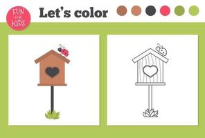 Malbuch Vogelhaus für Kinder im Vorschulalter mit einfachen pädagogischen Spielniveau.