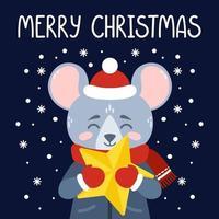 råttan med en gul stjärna. god julkort. vektor