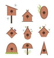 vårvektorkort med träfågelhus. isolerad på vit bakgrund fågelbox. vektor