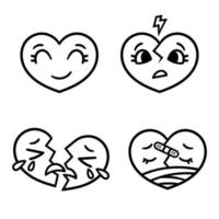 niedliche Cartoon Emoticon Herzen gesetzt, glücklich, traurig, gebrochen. vektor