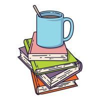 kopp kaffe eller te på bokhög. Jag älskar att läsa koncept för bibliotek, bokaffärer, festivaler, mässor och skolor. vektorillustration isolerad på vitt. vektor