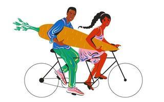 Tandemfahrradfahrer glücklicher Kerl und junges Mädchen. vegan fürs Leben. das Konzept eines gesunden Lebensstils, Sport und richtige Ernährung vektor