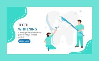 Zielseite für Zahnaufhellung. Ärzte reinigen und bedecken einen großen Zahn mit weißem Lack. Zahnpflegekonzept vektor