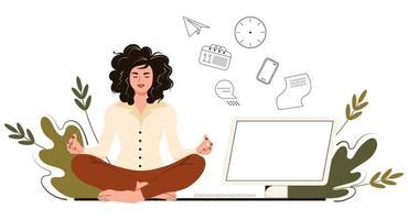 Geschäftsfrau meditiert im Büro. Konzept Yoga, entspannen, versuchen, Stress bei der Arbeit abzubauen. Vektorillustration im flachen Karikaturstil vektor