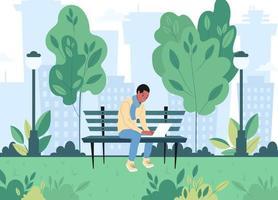 en ung frilans kille sitter på en bänk i en vårstadspark och arbetar på en bärbar dator. platt vektorillustration vektor