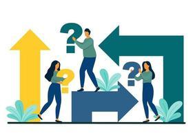 Entscheidungs- und Arbeitsstrategiekonzept. vektor