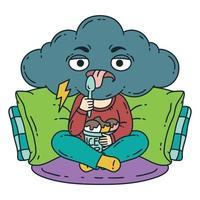 frustrerad, dåligt humör person äter glass. vektor