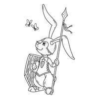 kaninriddare med lans och sköld. vektor