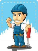 tecknad av tekniker eller reparatör företag maskot illustration ritning vektor