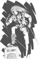 Skizze der Rocker, die auf der Schwarzweiss-Hand gezeichneten Illustration des Konzerts singt vektor