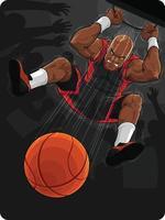 Basketballspieler macht Slam Dunk Cartoon Illustration Vektorzeichnung vektor
