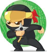 Karikatur von Ninja hält Shuriken Illustration Maskottchen Zeichnung vektor
