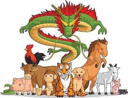alle 12 chinesischen Tierkreistiere zusammen Karikaturillustrationszeichnung vektor