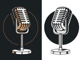 silhuett podcasting mikrofon inspelning isolerad logotyp illustration vektor