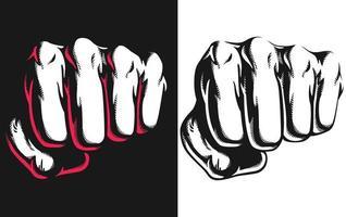 Silhouette Punch Blow Jab trifft die schwarze Illustration der Vorderansicht vektor