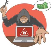 ransomware attack scam malware på bärbar dator tecknad illustration