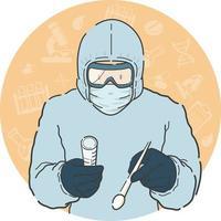 medizinischer Mitarbeiter, der eine Tupfertestprobe in persönlichen Schutzausrüstungen entnimmt vektor