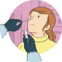Nasentupfertest auf Patientin in der Vorderansicht-Karikaturillustration vektor