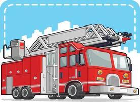 rote Feuerwehrauto-Feuerwehrauto-LKW-Karikaturillustrationszeichnung vektor
