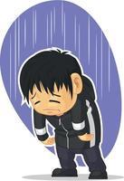 trauriger depressiver Junge, der düstere Stimmung trauert unglückliche Gefühle Cartoon