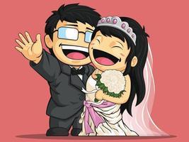 lyckligt bröllop brudgummen par förlovning tecknad illustration