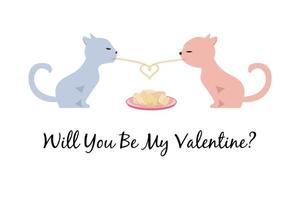 två stiliserade katter som äter spagetti. katter i kärlek illustration. Alla hjärtans gratulationskort.