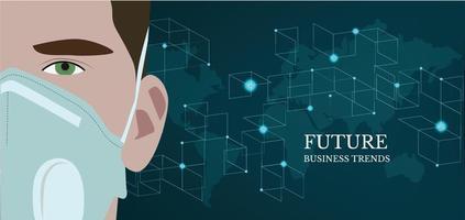 Geschäftsmann, der eine medizinische Maske mit einer Weltkarte im Hintergrund trägt. digitale Technologiewelt. virtuelles Geschäftskonzept vektor