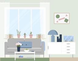 trendige Innenausstattung eines Wohnzimmers. vektor