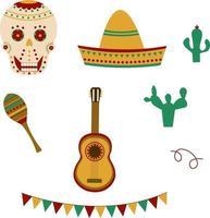 cinco de mayo firande i mexico ikoner set vektor