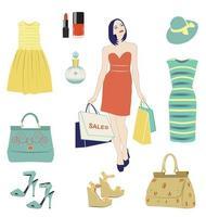 Mode-Vektor-Set. Einkaufsmädchen und Kleidungsstücke Illustration vektor