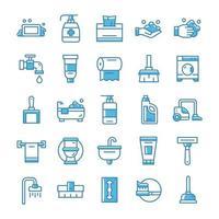 uppsättning hygienikoner med blå stil. vektor