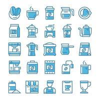Satz Kaffee-Ikonen mit blauem Stil. vektor