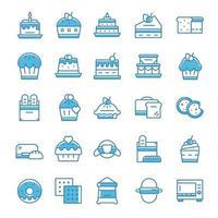 uppsättning bageri ikoner med blå stil. vektor