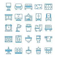 uppsättning hemboende ikoner med blå stil. vektor