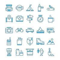 uppsättning vandring camping ikoner med blå stil.