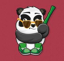 Panda mit Sonnenbrille, Bambus und Turnschuhen. Aufkleber. Patch. Kleidung. Vektor-Illustration Design. vektor