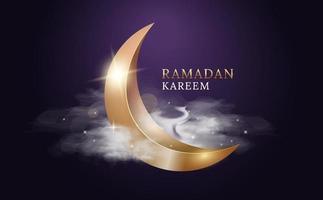 ramadan kareem arabiska fest. gyllene måne med moln och ljus. vektor illustration design.