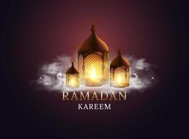 arabisk lykta med brinnande ljus och moln. ramadan kareem. vektor illustration design.