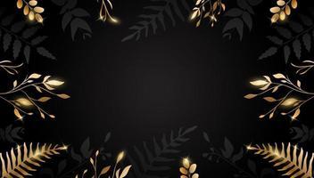 Gold Blatt. goldene Blume auf dunklem Hintergrund. Vektordesign für Broschüre, Karte, Umschlag. vektor